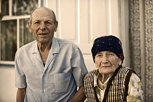 English: An old married couple in Kyrgyzstan, ...