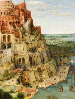 """Eine Teilansicht des Gemäldes """"Der Turm zu Babel"""" von Pieter Bruegel dem Älteren von 1563. Zu sehen ist die rechte Hälfte des Turms."""