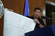 Duterte presents a chart which he claims, illustrates a drug trade network of drug syndicates, on July 7, 2016.