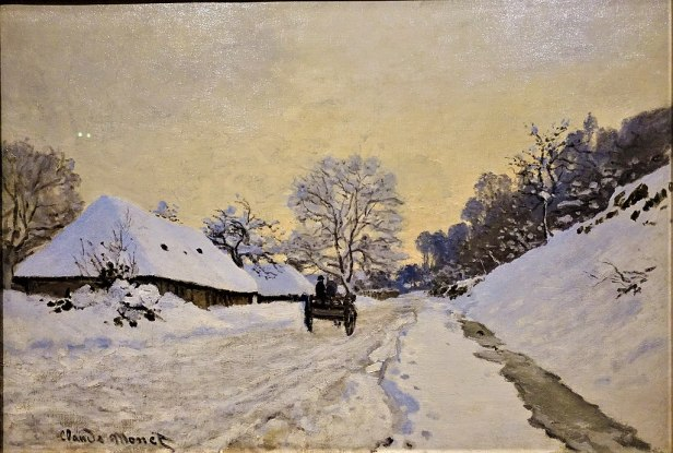"""""""A Cart on the Snowy Road at Honfleur"""" by Claude Monet - Musée d'Orsay - Joy of Museums"""