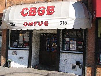 CBGB club facade, Bowery St, New York City. Ph...