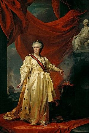 Portrait of Catherine II the Legislatress in t...