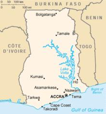 Mapa  República do Gana