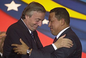 Néstor Kirchner y Hugo Chávez. ¿Es parte la Argentina de un