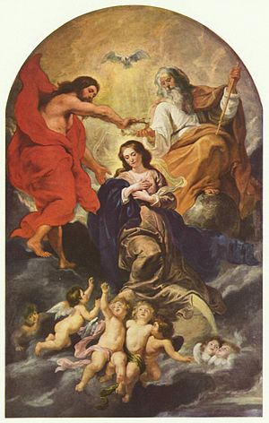 Crowning of the Virgin by Rubens, early 17th c...