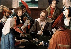 The Card Players by Lucas van Leyden. Oil on C...