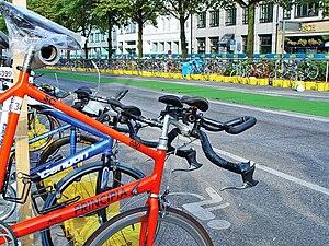 Transition area (bicycles) of Hamburg Triathlo...