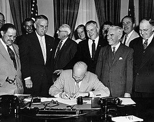 English: Eisenhower signing of HR7786, June 1,...