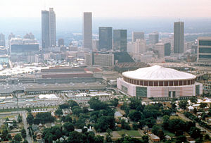 This is an aerial shot of the Atlanta skyline ...