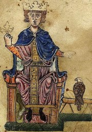 *Frederick II and his falcon. *From his book D...
