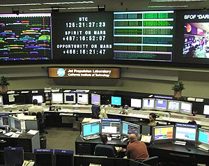 This is a photograph of the control room in th...