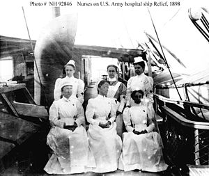 English: Nurses on the Army Hospital Ship Reli...