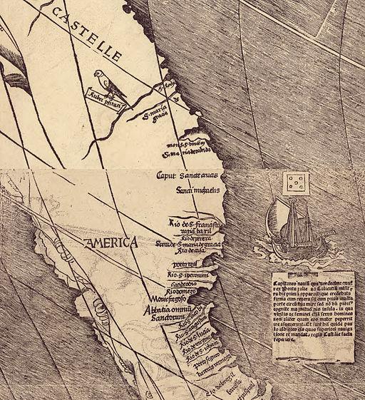 Waldseemuller map closeup with America