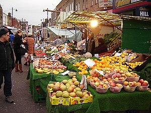 Chapel Market, Saturday afternoon, looking eas...