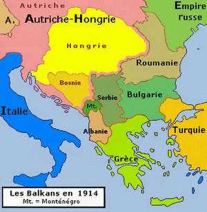 English: Historic map of Balkan peninsula, 191...