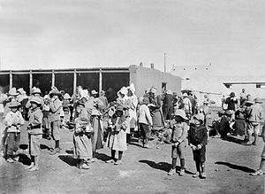 Boer women and children in a British-run conce...