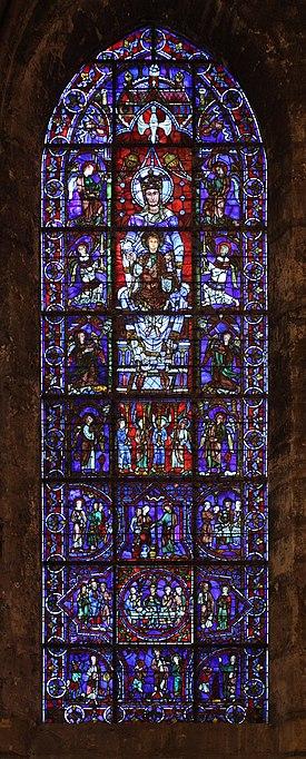 witraż Błękitna róża w katedrze w Chartres