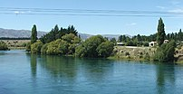The Clutha River at Albert Town, New Zealand. ...