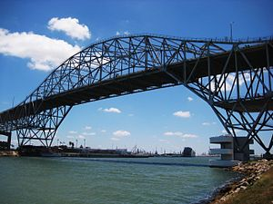 The bridge crossing into Corpus Christi.