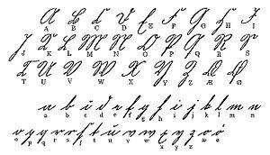 alla bokstäver i skrivstil