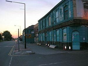English: Feeling Blue? Rundown building at the...