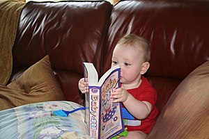 "Toddler with book ""Baby 411"""