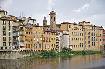 Typical houses by the river of the Arno, Flore...