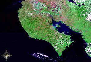Nicoya Peninsula seen from space (false color)