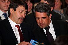 Áder and Bulgarian President Rosen Plevneliev in April 2013