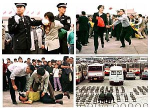 English: Shows Falun Gong practitioner being a...