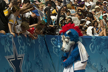 The Indianapolis Colts' mascot, Blue, signs au...