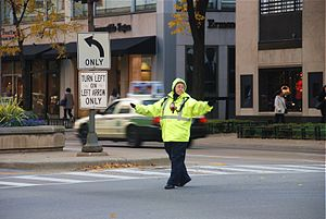 English: A traffic controller at Michigan Aven...