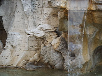 "Animals on the ""Fontana dei Quattro Fiumi..."