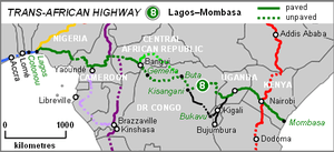 Map of route of Lagos–Mombasa Trans-African Hi...