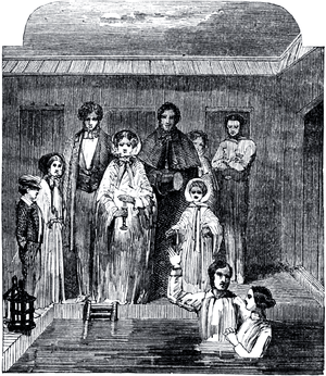 English: Drawing of a Mormon baptism ceremony,...