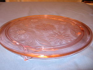 English: Pink Depression Glass Sunflower Cake ...