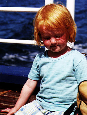 Redheaded girl. on a ferry to great blasket is...