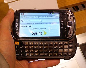 English: Samsung Intercept open in my hand and...