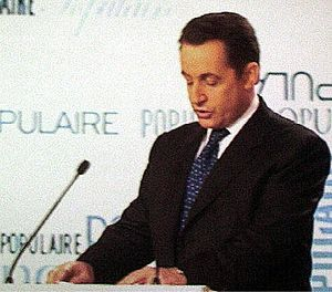 Nicolas Sarkozy speaking at the congress of hi...