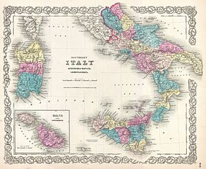 19th century map of Southern Italy, featuring ...