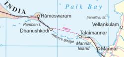 Map of Adam's Bridge and environs