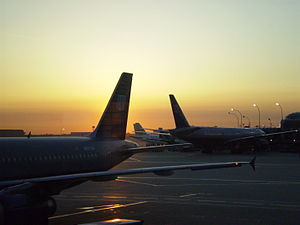 Airplanes at sunrise