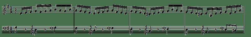 Los primeros cuatro compases de la quinta variación.