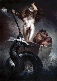 Thor lutando contra o m�stico monstro Jormungand durante Ragnarok