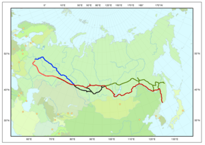 Trans-Siberian line in red; Baikal Amur Mainline in green
