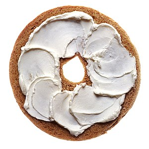 Cream cheese on a bagel.