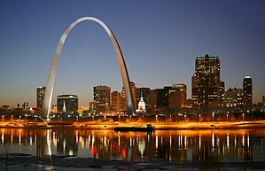 St. Louis on the Mississippi river by night. J...
