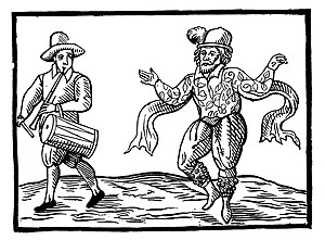 English Elizabethan clown Will Kempe dancing a...