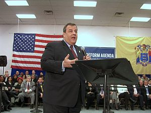 Christie at a town hall meeting in Union City,...