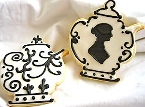 English: Jane Austen teapot cookie